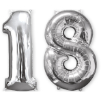 Mid Size Number Bunch 18 Silver Foil Balloon P56 Packaged