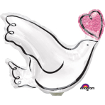 "Mini Shape ""Wedding Dove"" Foil Balloon, A30, airfilled"