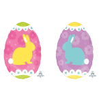 """Junior Shape """"Yellow and Blue Bunnies"""" Foil Balloon, S50, packed, 40 x 30cm"""
