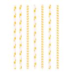 24 Drinking Straws Dots & Chevron Sunshine Yellow Paper 19.7 cm