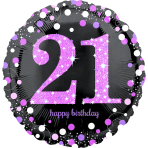 """Standard """"Pink Celebration 21"""" Foil Balloon Round Holo, S55, packed, 43 cm"""