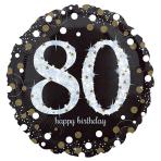 Standard Sparkling Birthday 80 Foil Balloon Round S55 Packaged 43 cm