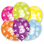 6 Latex Balloons All Round Printed Age 3 27.5 cm/11''