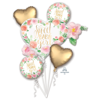 Bouquet Floral Baby Girl Foil Balloon P75 packaged