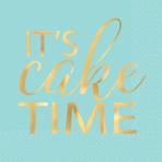 16 Napkins Let`s Eat Cake Hot Stamped 25cm