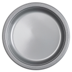 10 Plates Plastic Silver 22.8 cm
