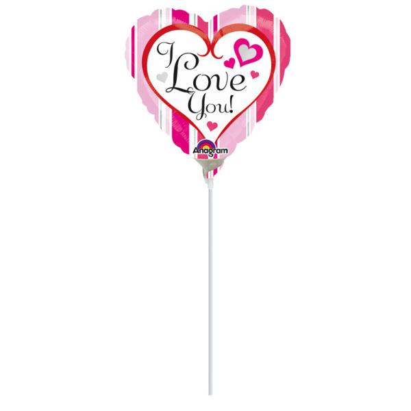 9'' Pink Stripes Love You FoilBalloon Heart A15 Air Filled