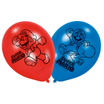 6 Latex balloons Super Mario 22,8cm/9""