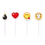 4 Mini Character Candles Smiley Emoticons Height 7 cm