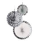 3 Fan Decorations Silver Dream Paper 18 cm / 30 cm / 38 cm