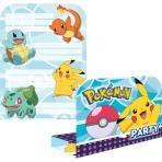 8 Invitations & Envelopes Pokemon Paper 16 x 21.5 cm