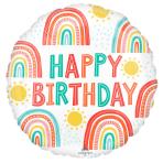 Standard Retro Rainbow Birthday Foil Balloon Round S40 Packaged 43 cm