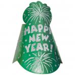 Cone Hat Happy New Year Foil Glitter Green 22 cm