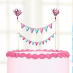 16 Cake Picks Christening Pink