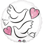 "Standard ""Wedding Doves"" Foil Balloon Round, S40, packed, 43 cm"