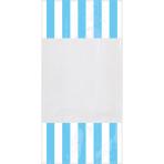 10 Party Bags Stripes Caribbean Blue Plastic 24.8 x 12.8 cm