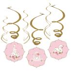 6 Swirl Decorations Princess for a Day Foil / Paper 45 cm / 80 cm