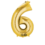 SuperShape Number 6 Gold Foil Balloon L34 Packaged 55cm x 88cm
