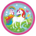 8 Plates Unicorn Paper Round 22.8 cm