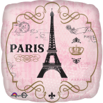 "Standard ""A Day in Paris"" FoilBalloon Round, S40, packed, 43 cm"