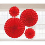 4 Fan Decorations Glitter Apple Red Paper 20.3 cm / 30.4 cm / 40.6 cm