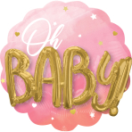 """Multi-Balloon Pink Baby Girl Foil Balloon P75 Packaged 28""""/71cm w x 28""""/71cm h"""