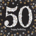 16 Napkins 50 Sparkling Celebration - Silver & Gold 33 x 33 cm
