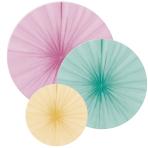 3 Fan Decorations Happy Birthday Pastel Paper 16 cm / 28 cm / 35 cm