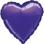 Standard Heart Metallic PurpleFoil Balloon S15 Bulk