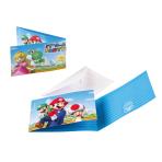 8 Invitations & Envelopes Super Mario Paper 7.9 x 14.1 cm