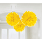 3 Fluffy Decorations Sunshine Yellow Paper 40.6 cm