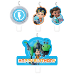 4 Mini Character Candles Rusty Rivets Height 5.5 - 7.5 cm