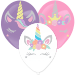 3 Latex Balloons Assorted 35.5 cm with Unicorn Stickers Paper