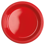 10 Plates Apple Red Plastic Round 22.8 cm