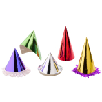 Party Cone Hats Fringes Assorted Paper Height 15 cm