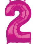"26"" Number '2' Pink Foil Balloon P30 packaged 43cm x 66cm"