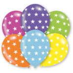 "6 Latex Balloons Stars 27.5 cm / 11"""
