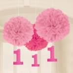 3 Fluffy Decorations with Danglers First Birthday Girl Paper 40.6 cm / 17.8 cm