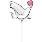 "Mini Shape ""Wedding Dove"" Foil Balloon, A30, airfilled"