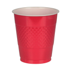 10 Cups Apple Red Plastic 355 ml