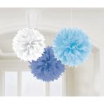 3 Fluffy Decorations Light Blue / Dark Blue / White Paper 40.6 cm