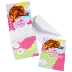 6 Invitations & Envelopes Charming Horses 2 Paper 8 x 14.2 c