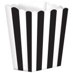 5 Popcorn Boxes Stripes Black Paper 6.3 x 13.4 x 3.8 cm