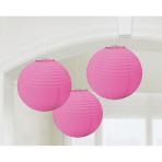 3 Lanterns Bright Pink Paper 20.4 cm