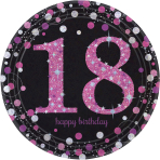 8 Plates 18 Sparkling Celebrations Paper Round Pink Prismatic 22.8 cm