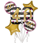 "Bouquet ""Pink & Gold Milestone 40"" Foil Balloon, P75, packed"