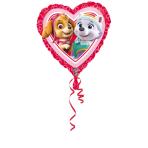"""Standard """"Paw Patrol Love - Girl"""" Foil Balloon Heart, S60, bulk, 43 cm"""