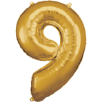 Large Number 9 Gold Foil Balloon N34 Packaged 63 cm x 86 cm