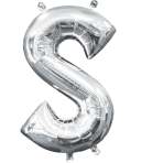 MiniShape Letter S Silver Foil Balloon L16 Packaged 20cm x 33cm