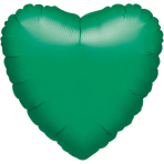 "Standard ""Metallic Green"" Foil Balloon Heart, S15, packed, 43cm"